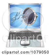 Clipart 3d Audio Speaker Emerging From A Laptop Computer Royalty Free Vector Illustration