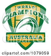 Clipart Australia World Champions Rugby Shield Royalty Free Vector Illustration