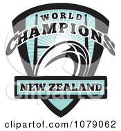 Clipart New Zealand World Champions Rugby Shield Royalty Free Vector Illustration