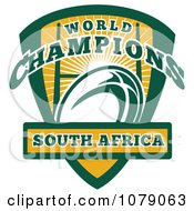 Clipart South Africa World Champions Rugby Shield Royalty Free Vector Illustration