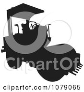 Clipart Black Silhouetted Road Roller Machine Royalty Free Vector Illustration by patrimonio