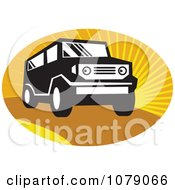 Clipart Black And White SUV Over Orange Rays Royalty Free Vector Illustration