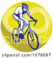 Blue Cyclist On A Yellow Circle Logo