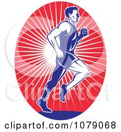 Clipart Blue Runner Over Red Rays Logo Royalty Free Vector Illustration