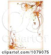 Grungy Off White Autumn Background With Splatters And Vines