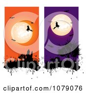 Clipart Orange And Purple Full Moon Bats Witch And Haunted Castle Vertical Website Banners Royalty Free Vector Illustration by MilsiArt