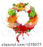 Clipart Autumn Harvest Decorative Wreath Royalty Free Vector Illustration by Pushkin