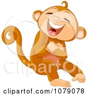 Clipart Monkey Laughing Out Loud Royalty Free Vector Illustration by Pushkin