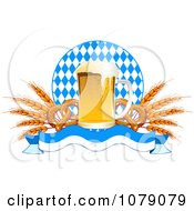Clipart Frothy Oktoberfest Beer With Soft Pretzels And Wheat Over A Banner And Diamonds Royalty Free Vector Illustration by Pushkin