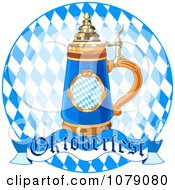 Clipart Beer Stein On A Blue Diamond Plate With An Oktoberfest Banner Royalty Free Vector Illustration