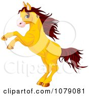Clipart Rearing Golden Horse With Brown Hair Royalty Free Vector Illustration