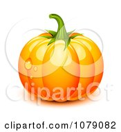 Clipart 3d Plump Orange Pumpkin With Ridges And Dew Drops Royalty Free Vector Illustration