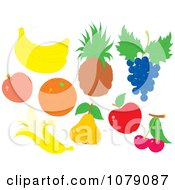 Clipart Bananas Apricot Orange Pineapple Blueberries Pear Apple And Cherries Royalty Free Vector Illustration by Alex Bannykh