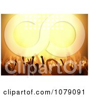 Clipart Silhouetted Concert Audience Holding Their Arms Up Under Orange Lighting Royalty Free Vector Illustration