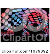 Clipart Silhouetted Crowd Dancing Under Circular Lights Royalty Free Vector Illustration