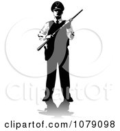 Clipart Black And White Security Guard Holding A Shot Gun Royalty Free Vector Illustration