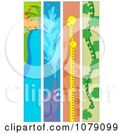 Clipart Vertical Tiger Elephant Giraffe And Snake Banners Royalty Free Vector Illustration