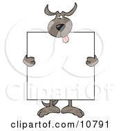 Happy Dog Holding A Blank Sign Clipart