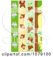 Clipart Vertical Rabbit Squirrel Deer And Bird Banners Royalty Free Vector Illustration