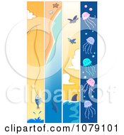 Clipart Vertical Fishing Whale Shark And Jellyfish Banners Royalty Free Vector Illustration