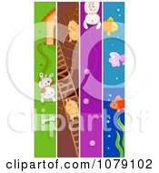 Clipart Vertical Dog Hamster Cat And Fish Pet Banners Royalty Free Vector Illustration