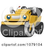 Clipart Happy Road Roller Machine Royalty Free Vector Illustration by BNP Design Studio