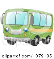 Clipart Happy Green Van Royalty Free Vector Illustration by BNP Design Studio