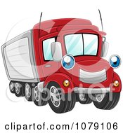 Clipart Happy Big Rig Truck Royalty Free Vector Illustration