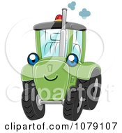 Clipart Happy Green Tractor Royalty Free Vector Illustration