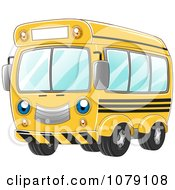 Clipart Happy Yellow School Bus Royalty Free Vector Illustration