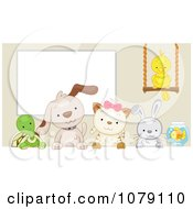 Cute Tortoise Puppy Kitten Rabbit Bird And Fish By A White Board