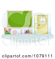 Clipart Toys And A Chalkboard In A Preschool Class Room Royalty Free Vector Illustration