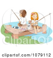 Clipart Summer Camp Kids Fishing On A Dock Royalty Free Vector Illustration