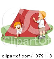 Clipart Summer Camp Boys Setting Up A Tent Royalty Free Vector Illustration