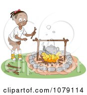Clipart Cute Black Girl Boiling Water Over A Campfire Royalty Free Vector Illustration
