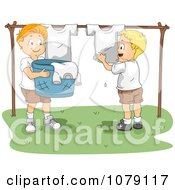 Clipart Summer Camp Boys Hanging Laundry Up To Dry Royalty Free Vector Illustration