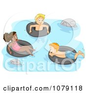 Clipart Summer Camp Kids Swimming With Inner Tubes Royalty Free Vector Illustration