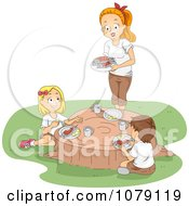 Clipart Camp Counselor And Children Eating On A Tree Stump Royalty Free Vector Illustration