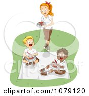 Clipart Camp Counselor Serving Food To Boys Royalty Free Vector Illustration