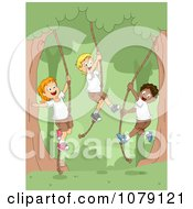 Clipart Summer Camp Children Swinging On Ropes On The Woods Royalty Free Vector Illustration