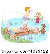 Summer Camp Children Jumping Off Of A Dock And Swimming