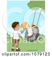 Clipart Summer Camp Kids Playing On A Tire Swing Royalty Free Vector Illustration