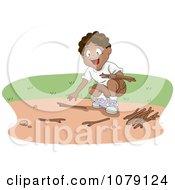 Clipart Black Boy Gathering Kindling Firewood Royalty Free Vector Illustration