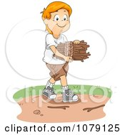 Clipart White Boy Gathering Kindling Firewood Royalty Free Vector Illustration by BNP Design Studio