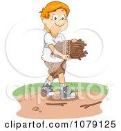 White Boy Gathering Kindling Firewood