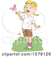 Clipart Summer Camp Girl Playing With A Butterfly Royalty Free Vector Illustration by BNP Design Studio