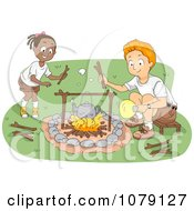 Clipart Camp Counselor And Girl Tending To A Camp Fire Royalty Free Vector Illustration