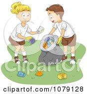 Clipart Summer Camp Kids Cleaning Up Garbage Royalty Free Vector Illustration