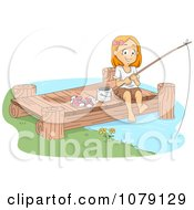 Clipart Happy Girl Fishing Off Of A Dock Royalty Free Vector Illustration
