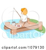 Clipart Boy Fishing Off Of A Dock Royalty Free Vector Illustration